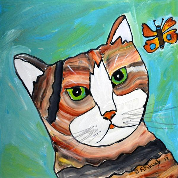 Colourful Arty Cat by Jean Fitzhugh
