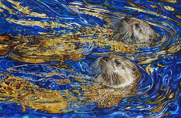 Otters in sapphire and gold water by Rhian Symes