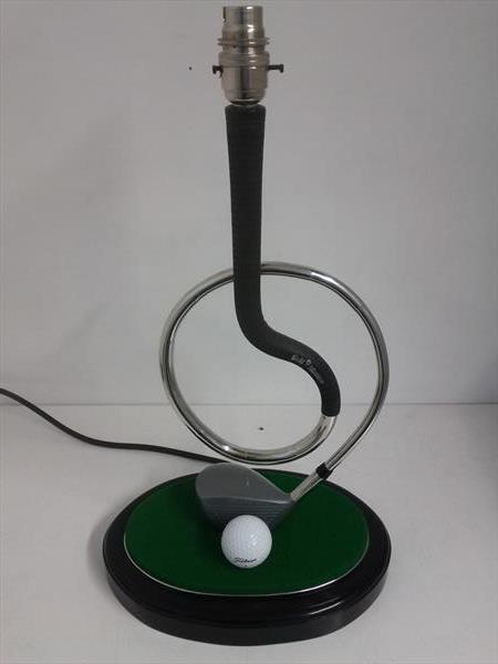 Golf club table lamp by Malcolm Hull