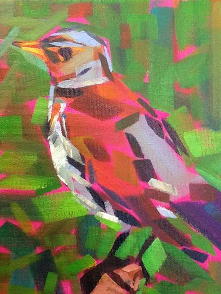 Bird study on fucshia