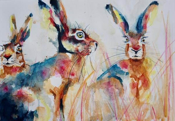 Hares in the field -- Reserved for PG by Anna Pawlyszyn