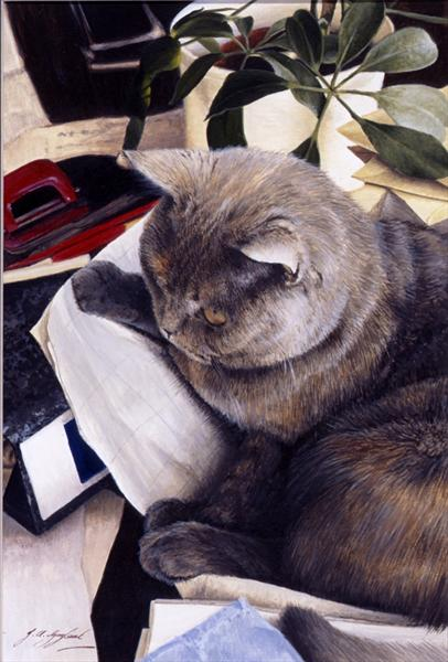 Paperweight- British Shorthair Blue Cream by Jacqueline A. Gaylard