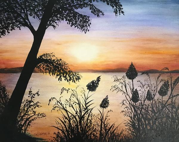 Sunset over the Lake by Brenda Newton