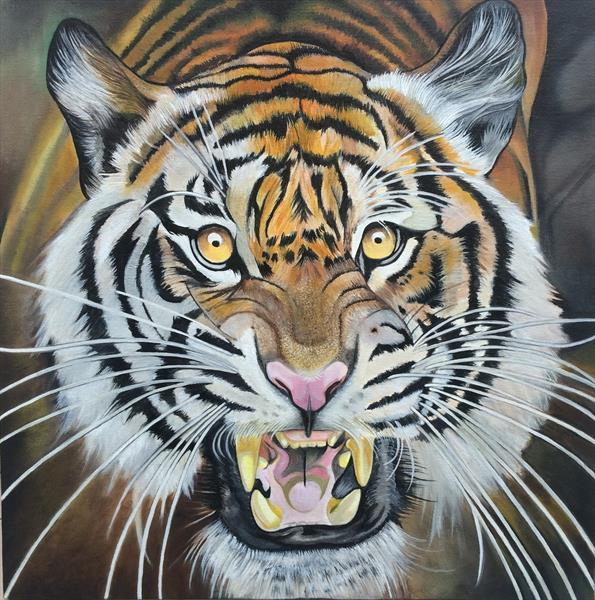 tiger oil painting by gareth miller