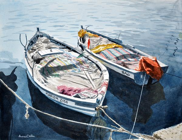 Two Fishing Boats At Sousse, Tunisia by Andrew Dibben