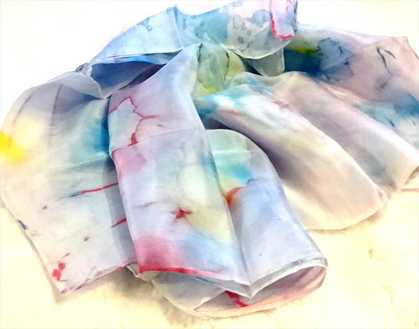 Handpainted Silk Scarf  N.5 Blue and Purple by Susana Zarate
