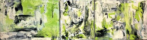 Limed Lace II ~ Abstract Oil On Canvas Triptych by Maxine Martin