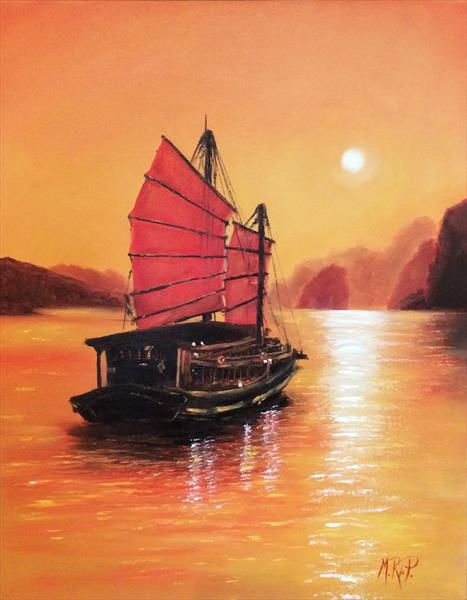 Halong Bay Sunset by Marcela Rogel de Pepper