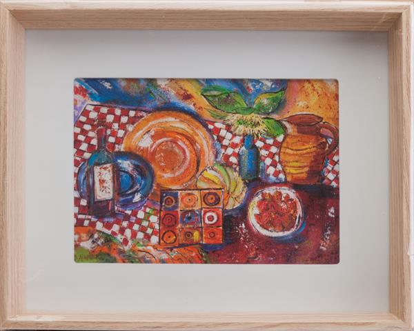STILL LIFE WITH SUNFLOWER, WINE AND STRAWBERRIES by Diana Aungier - Rose