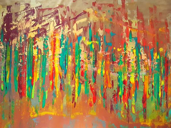No storm is strong enough to bend us - XXL abstract painting  by Ivana Olbricht