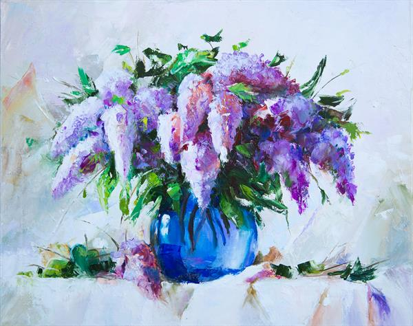 Bouquet of lilacs in a blue vase by Inna Stone