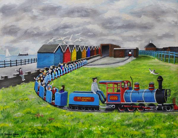 Lytham St Annes On Sea Miniture Railway And Beach Huts by Ronald Haber