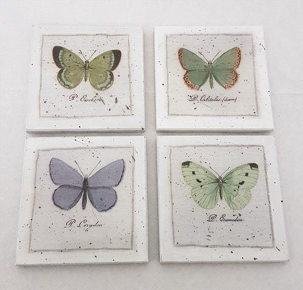Butterflies Vintage Coasters by Cinzia Mancini