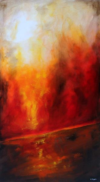 Fire Walks With Me #1 - Large original landscape Painting by Cecilia Frigati