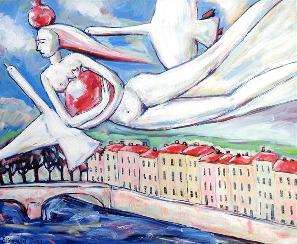 WOMAN FLYING WITH GEESE AND MAGIC POMEGRANATES by Elisaveta Sivas