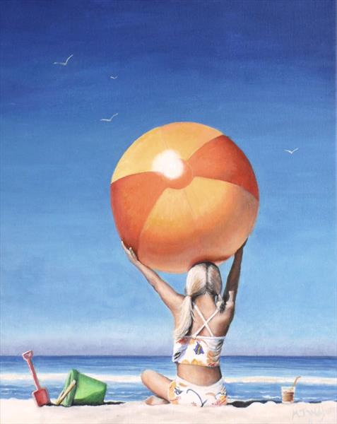 Girl With Beach Ball by Marion Wilford