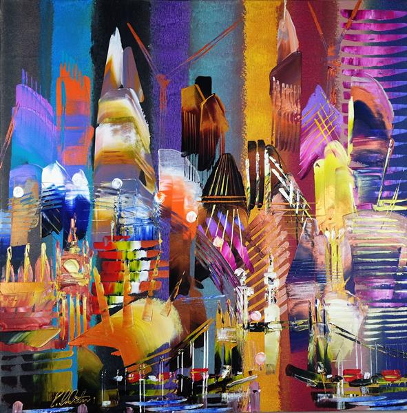 City of London Skyline Abstract Painting 815 by Eraclis Aristidou