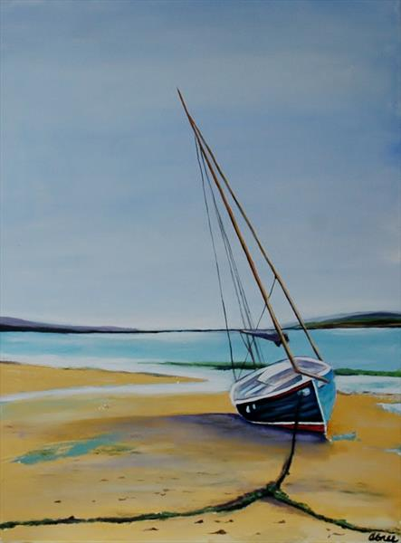 Sailing boat on the beach by Andrew Snee