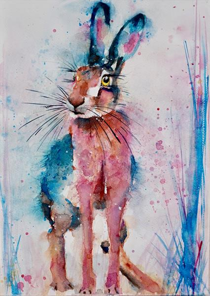 Posing Hare 12x17 inches by Anna Pawlyszyn