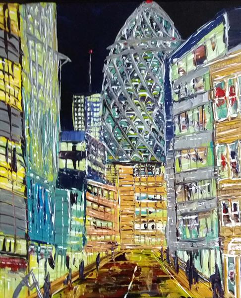The Gherkin town, London By night by Andrew Alan Matthews