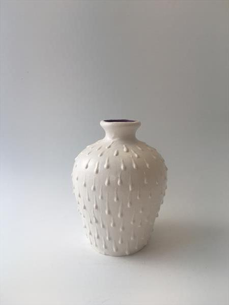 Small Matt White Drip Vase by Julie Anne