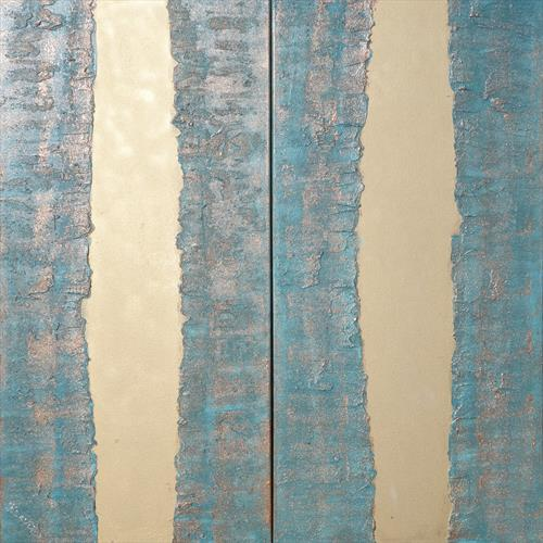 gold stripe copper patina long textured abstract painting A274  by Ksavera Art