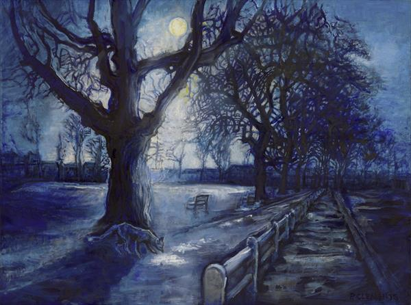 Moonlight Fox on the Green  by Patricia Clements