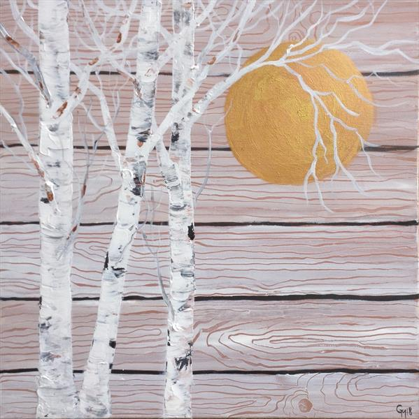 Birches on wood by Gill Masters