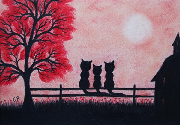 Three Cats on Fence (Framed) by Claudine Peronne