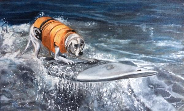 Labrador surfer catches wave by Ira Whittaker