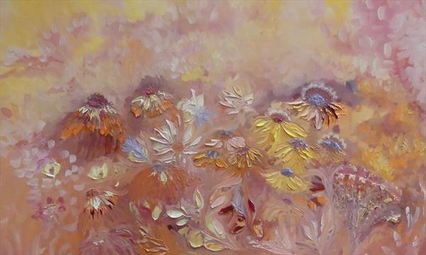 Apricot Sunflowers  by Lesley Blackburn