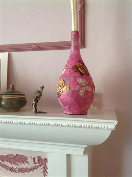 Carafe shaped decorated Candle holder by Pamela  Riddoch