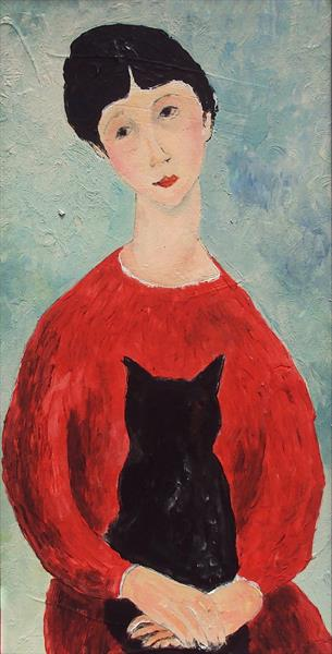 Girl in red, black cat