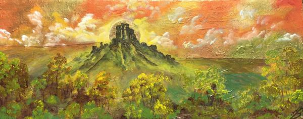 Corfe Castle on a large panoramic god leaf covered canvas by Marja Brown