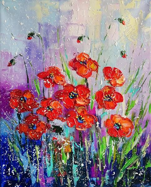 MY POPPIES; ORIGINAL OIL PAINTING ON CANVAS by Alena Shymchonak