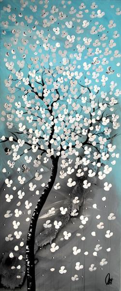 Silver Blossoms II acrylic abstract painting flowers blossoms nature painting canvas wall art by Edelgard Schroer