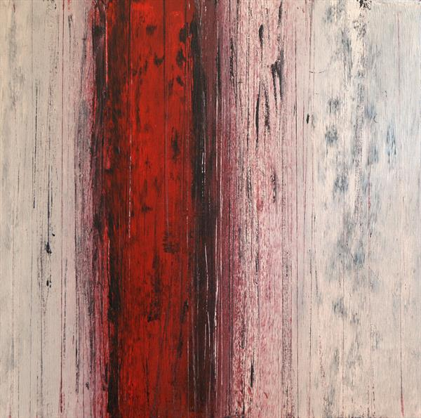 Abstract with Red, Black and Grey by Milena Blaziak Cooke