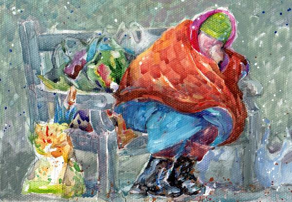 Bag Lady in the Snow by Gillian Rymer