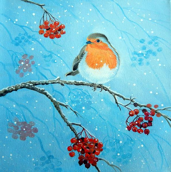 Robin and Berries by Denise Coble