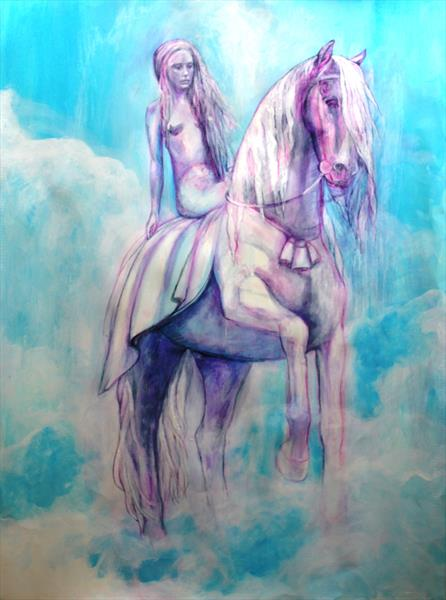 Girl on a Beautiful White Horse by Helena Manchip