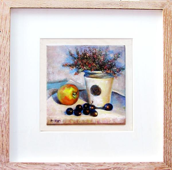 Kew Pot with Heather and Fruit by Jean Simpson