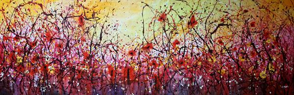 Golden Passion #2 - Extra large original abstract painting by Cecilia Frigati