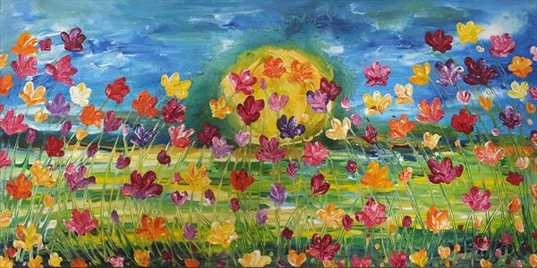 Large Quantities Of Blooms (Panoramic) by Hester Coetzee
