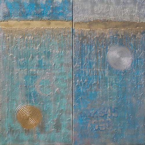 turquoise gold textured paintings abstract diptych A228-1 by Ksavera Art