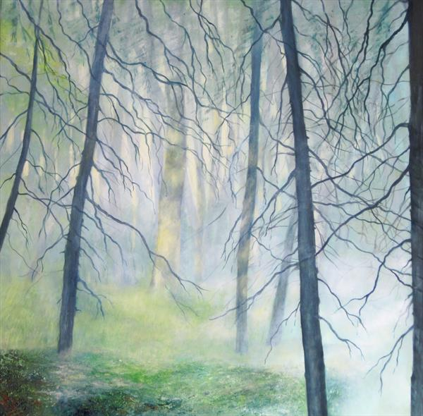 Morning Mist in Culbin Forest by Gill Stokes
