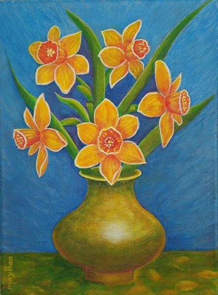 Daffodils in a  Copper Vase by may than