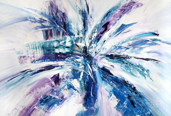 Violet And Blue Abstraction XL 1 by Peter Nottrott