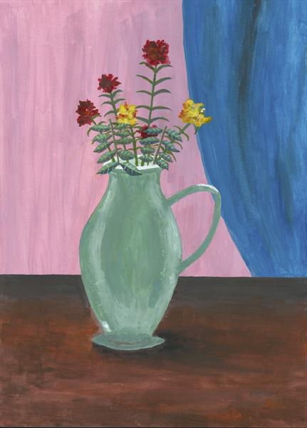 Flowers in a green jug by John Van Der Kiste