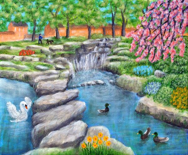 Springtime Waterfall In Ashton Gardens Lytham St Annes On Sea by Ronald Haber