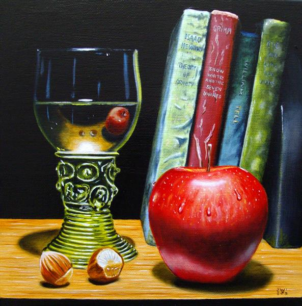 Apple with Roemer glass and books by Jean-pierre Walter